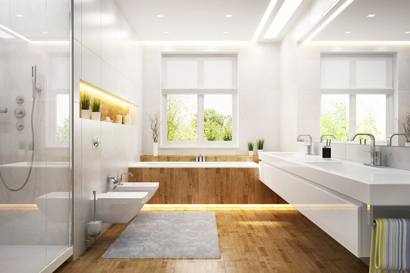white bathroom with double sinks